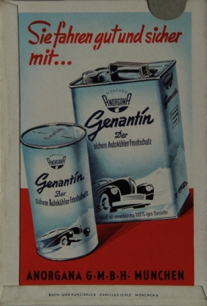 Genantin Anorgana Autokühler-Frostschutz Werbe-Entfernungsmesser Deutschland 1953