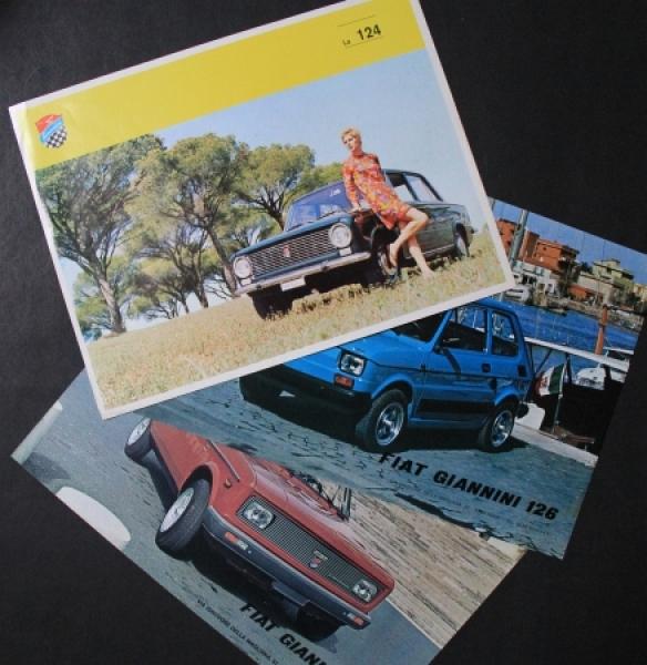Giannini Carrozzeria Typo 124-26-128 drei Automobilprospekte 1972