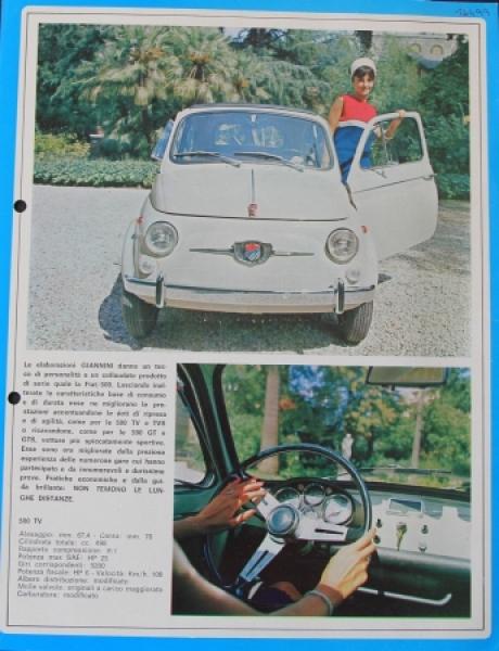 Giannini Carrozzeria Typo 500 TV + 850 SL zwei Automobilprospekte 1967