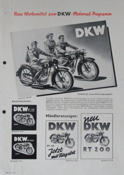 """DKW Motorrad-Programm """"Neue Werbemittel"""" 1951 Motorradprospekt"""