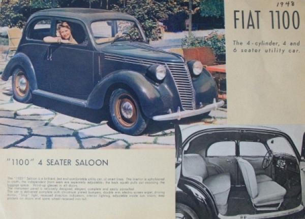 Fiat 1100 Saloon 1948 Automobilprospekt