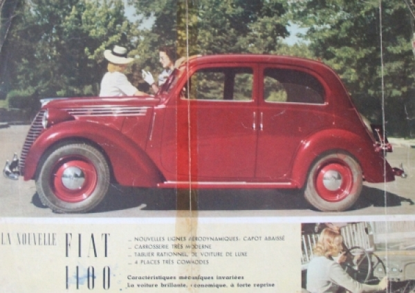 Fiat 1100 Modellprogramm 1939 Automobilprospekt