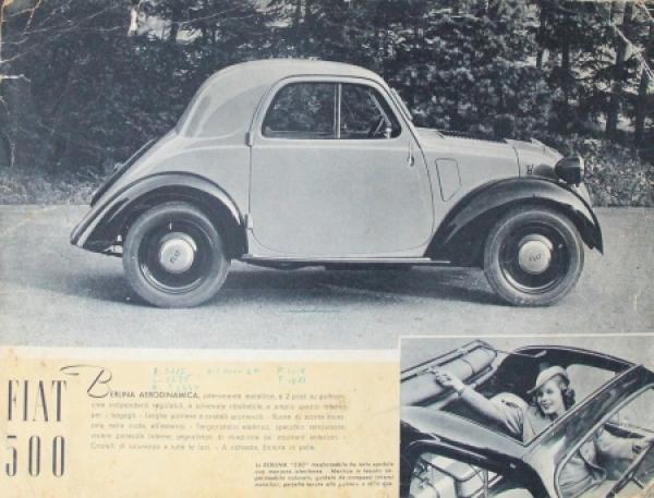 Fiat 500 Belina 1939 Automobilprospekt 0
