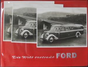 Ford V8 Harmening Panoramabus 1950 Ford-Angebotsmappe mit 3 Werksphotos