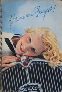 "Peugeot Modellprogamm ""J'aime ma Peugeot"" 1935 Automobilprospekt"