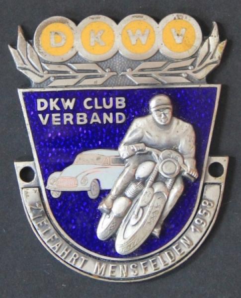 """DKW Verband Motorsportplakette """"Zielfahrt Mehrsfelden"""" 1958 Email"""