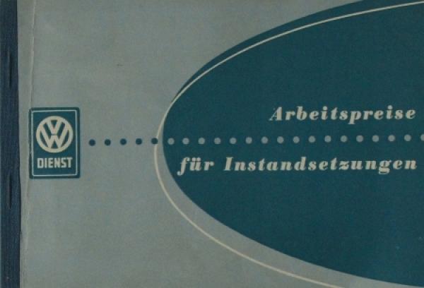 Volkswagen Arbeitspreise für Instandsetzungen Transporter-Limousine 1953