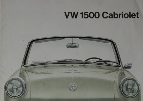 Volkswagen 1500 Cabriolet Modellprogramm 1962 Automobilprospekt