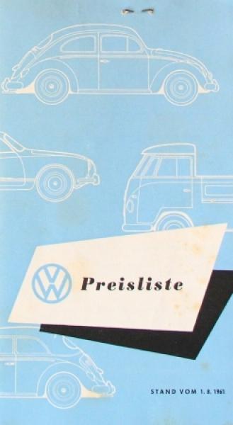 Volkswagen Modellprogramm 1961 Preisliste