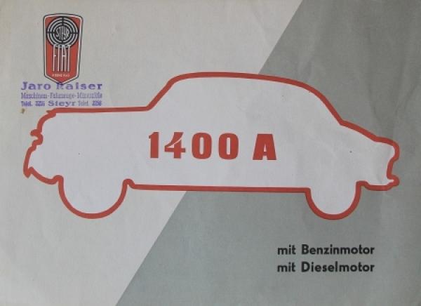 Steyr 1400 A Modell Fiat 1953 Automobilprospekt