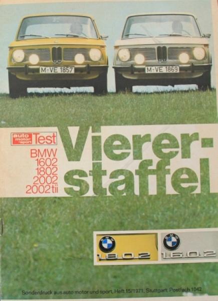 """BMW 1602-2002 tii """"Viererstaffel"""" Sonderdruck aus AMS 1971"""