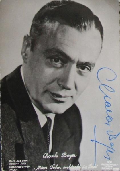 Charles Boyer original signierte Autogrammkarte 1952