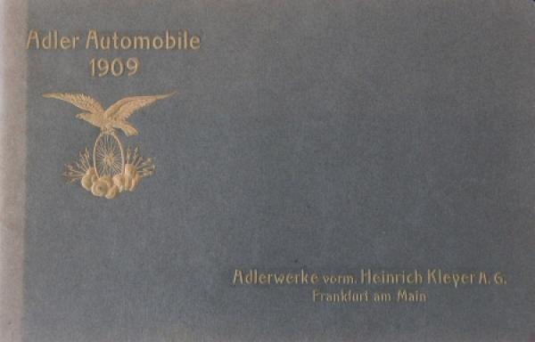 Adler Automobile Modellprogramm 1909 Automobilprospekt