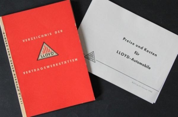 """Lloyd """"Verzeichnis der Vertragswerkstätten"""" + Preisliste 1960"""