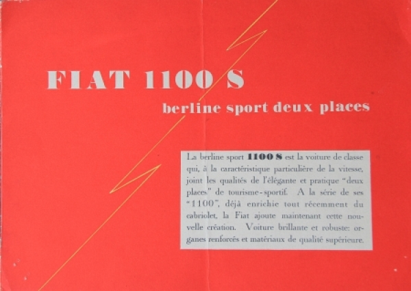 Fiat 1100 S Berline Sport 1949 Automobilprospekt