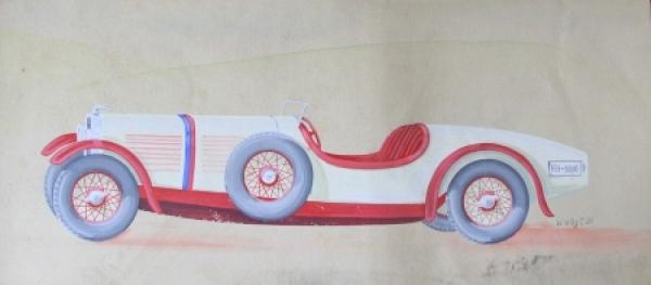 Adler Sport-Roadster Aquarell von W. Wüst 1931 auf Karton