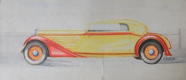 Adler Cabriolet 1931 Aquarell von W. Wüst auf Karton