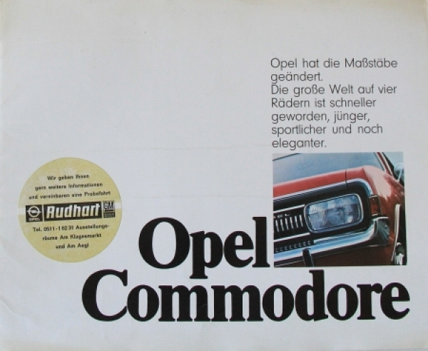 "Opel Commodore ""Opel hat die Maßstäbe verändert"" 1970 Automobilprospekt"