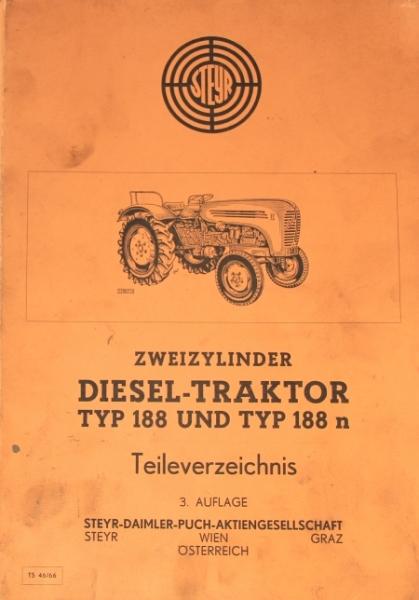 Steyr Diesel-Traktor Typ 188 Ersatzteilliste 1966