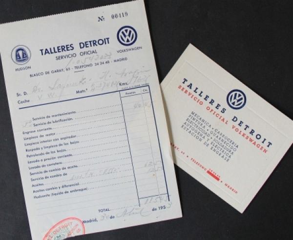 "Volkswagen Serviceunterlagen ""Talleres, Detroit - Madrid"" 1953"