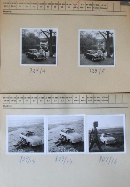 LLoyd LP 400 fünf original Werksphotos auf Lloyd-Karteikarten 1954 (6344)