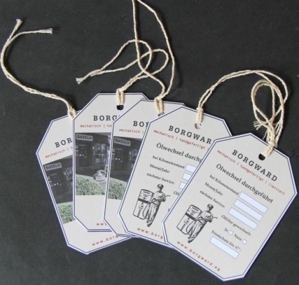 """Borgward Anhänger """"Olewechsel durchgeführt"""" 2010 Karton mit Kordelbindung"""