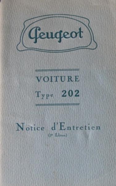 Peugeot Voiture Type 202 Betriebsanleitung 1938