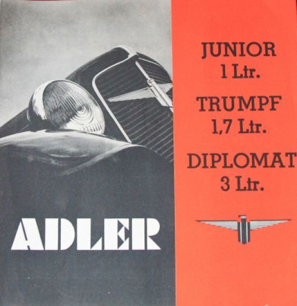 Adler Junior-Diplomat-Trumpf Modellprogramm 1935 Automobilprospekt