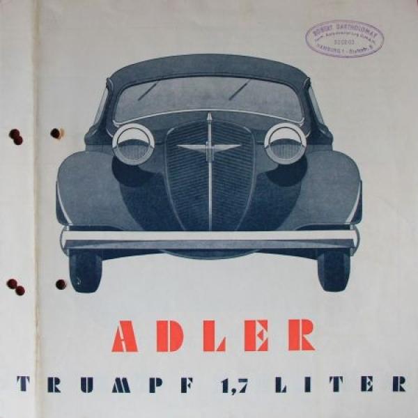 Adler Trumpf 1,7 Liter Modellprogramm 1936 Reuters Automobilprospekt
