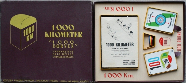 "Dujardin ""1.000 Kilometer - 1000 Bornes"" Canasta-Autobrettspiel 1961 in Originalbox"