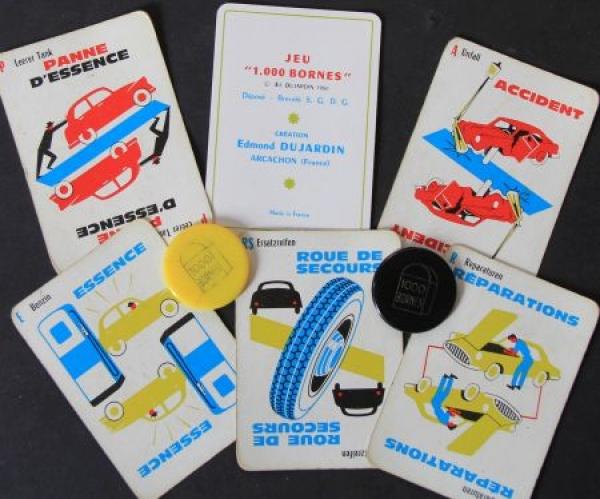"Dujardin ""1.000 Kilometer - 1000 Bornes"" Canasta-Autobrettspiel 1961 in Originalbox 2"