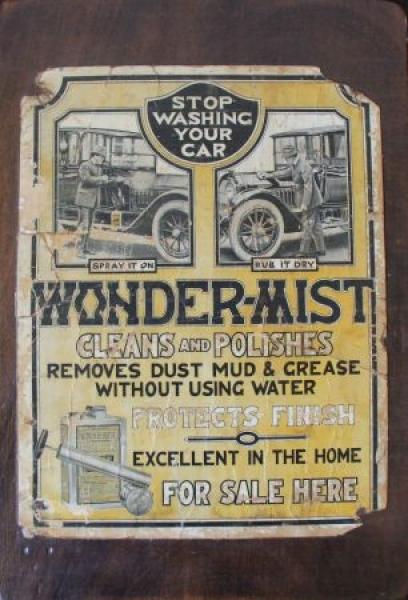 """""""Wonder Mist Clean Polish"""" Autopflege-Werbeplakat 1918"""