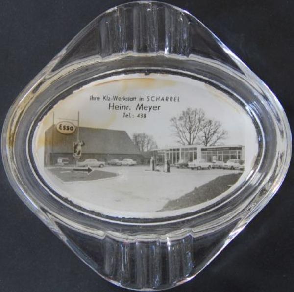 Esso Werbe-Aschenbecher 1965 Glas mit Tankstellenmotiv