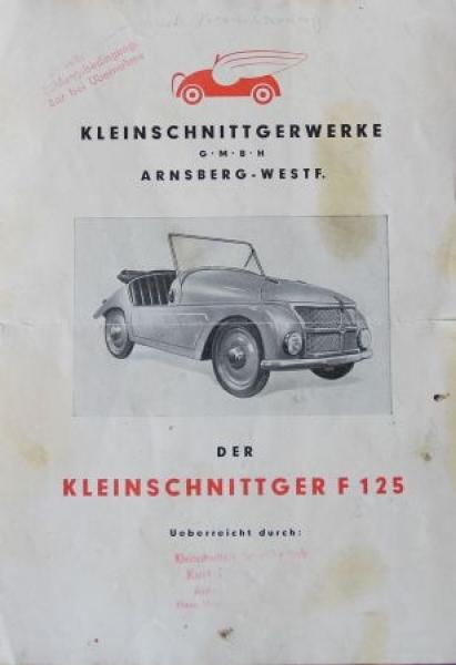 Kleinschnittger F 125 Modellprogramm 1950 Automobilprospekt
