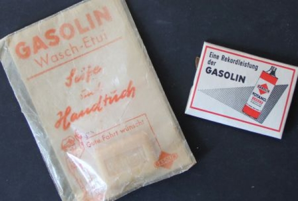 Gasolin Werbeset Anhänger, Seife, Handtuch 1955 originalverpackt