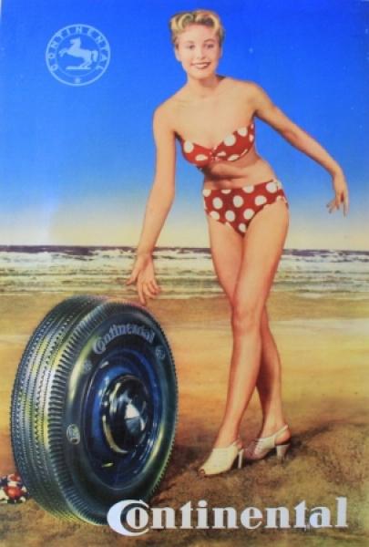 Continental Reifen Werbeplakat 1951 Pin-Up-Motiv Repro