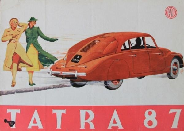 Tatra 87 Modellprogramm 1939 Automobilprospekt