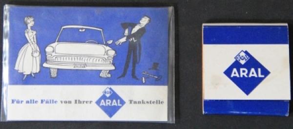 BV Aral Werbeartikel Streichholzbrief und Einmalhandschuh verpackt 1958