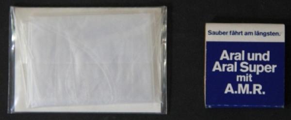 BV Aral Werbeartikel Streichholzbrief und Einmalhandschuh verpackt 1958 1