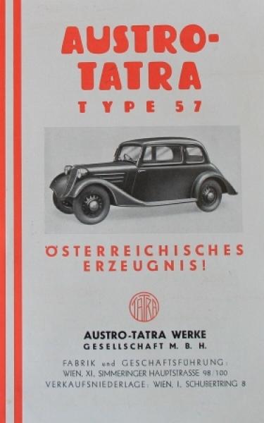 Austro-Tatra Type 57 Modellprogramm 1934 Automobilprospekt