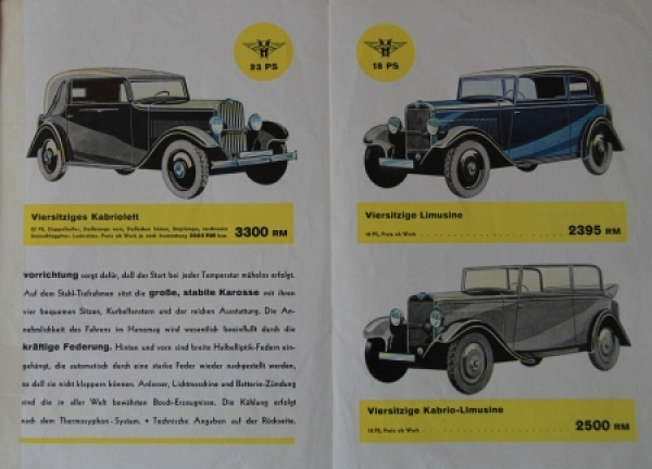 Hanomag Automobile Modellprogramm 1928 Automobilprospekt 1