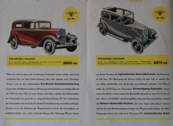 Hanomag Automobile Modellprogramm 1928 Automobilprospekt 2