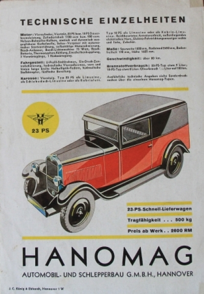 Hanomag Automobile Modellprogramm 1928 Automobilprospekt 3