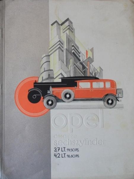 Opel 6 Zylinder 3,7 Liter 1928 Automobilprospekt
