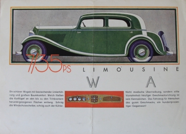 Wanderer 7/35 PS Modellprogramm 1933 Reuters Zeichnungen Automobilprospekt 1