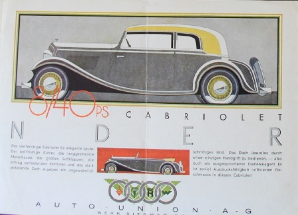 Wanderer 7/35 PS Modellprogramm 1933 Reuters Zeichnungen Automobilprospekt 2