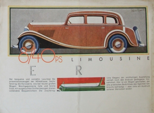Wanderer 7/35 PS Modellprogramm 1933 Reuters Zeichnungen Automobilprospekt 3