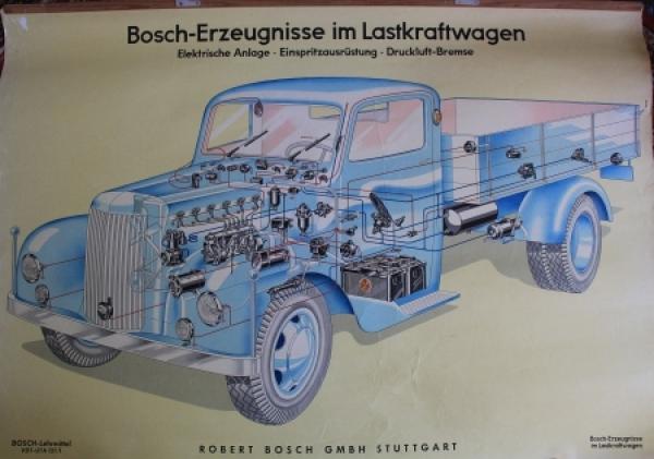 """Bosch Werbeplakat """"Bosch-Erzeugnisse im Lastkraftwagen"""" 1955"""