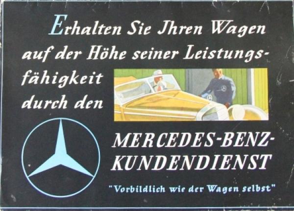 """Mercedes-Benz """"Kundendienst - Vorbildlich wie der Wagen selbst"""" 1938 Automobilprospekt"""