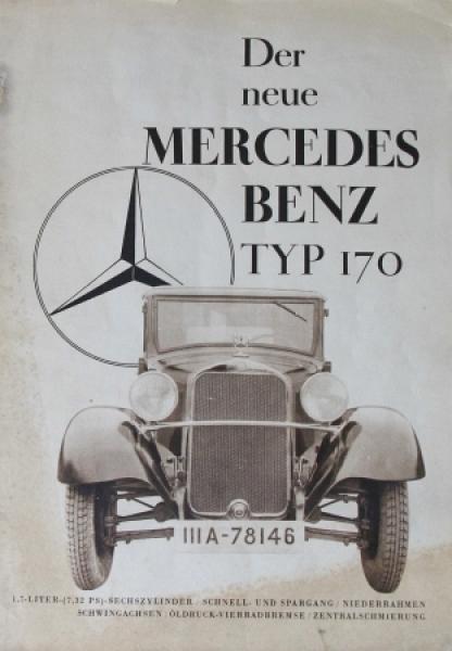 """Mercedes-Benz Typ 170 """"Der neue Mercedes"""" 1931 Automobilprospekt"""